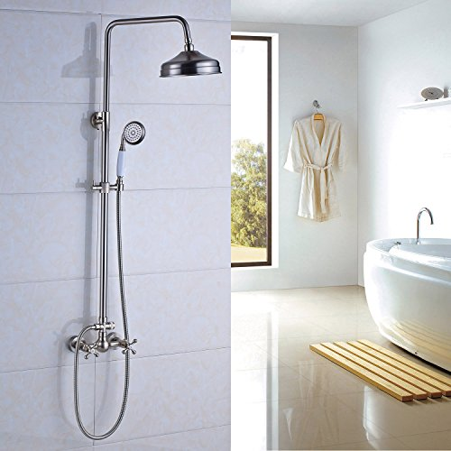 Rozin Bathroom Dual Knobs Mixing Shower Faucet Set 8-inch Top Rainfall Showerhead + Handheld Spray Brushed Nickel (Shower Bathroom Sets And Faucet)