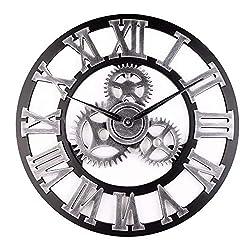 HDHUA Modification Accessories 45cm Round Gear Wall Clock Roman Numerals Open Face Modern Creative Wall Clock - Gold (Color : Silver)