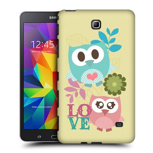 Head Case Designs Pink and Blue Love Kawaii Owl Protective Snap-on Hard Back Case Cover for Samsung Galaxy Tab 4 7.0 T230 T231 T235