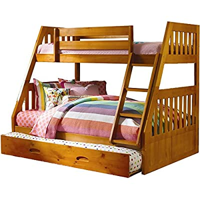 Cambridge Stanford Bunk in Honey Pine with Slide-out Trundle Children's Bed Frames, Twin over Full