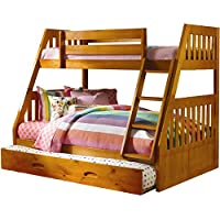 Cambridge Stanford Bunk in Honey Pine with Slide-out Trundle Childrens Bed Frames, Twin over Full