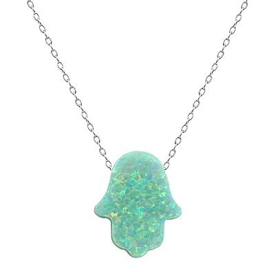 Amazon fire opal hamsa hand opal pendant multi color opal fire opal hamsa hand opal pendant multi color opal necklace 925 sterling silver necklace green aloadofball Images