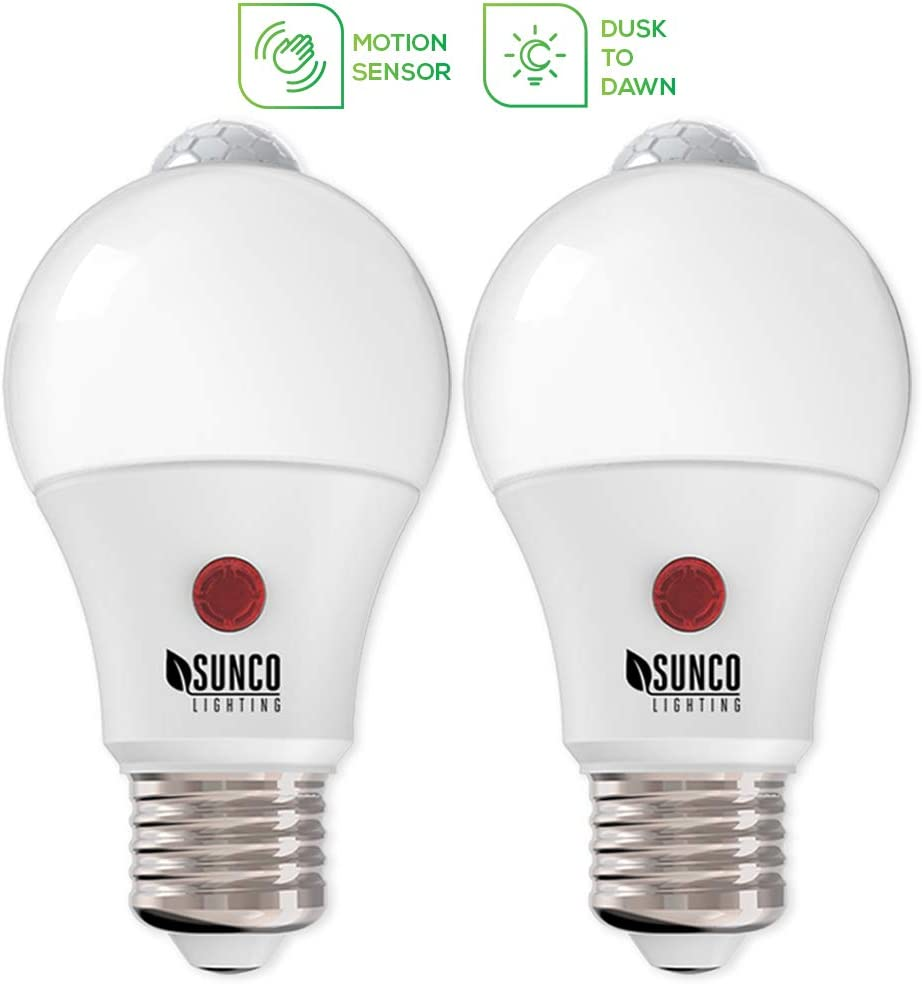 /& Motion Photocell Security Light Motion-Activated at Night UL Detection 2700K Soft White PIR Sunco Lighting 6 Pack A19 LED Bulb Dusk-to-Dawn 9W=60W