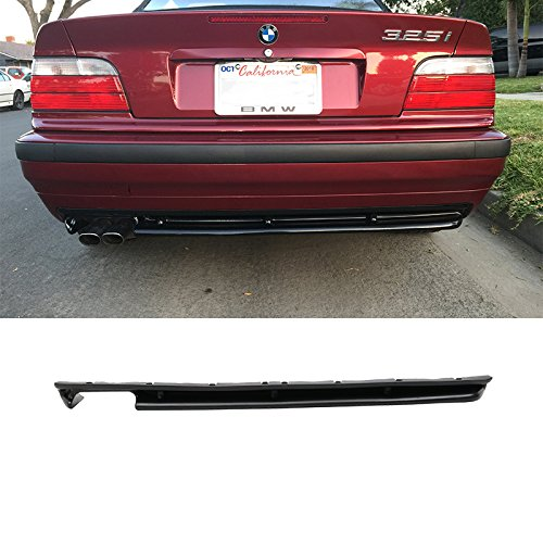 Rear Bumper Diffuser Fits 1992-1999 BMW E36 3-Series | JDM Style PU Splitter Spoiler Valance Chin Diffuser Body kit Bodykits by IKON MOTORSPORTS |  1993 1994 1995 1996 1997 1998
