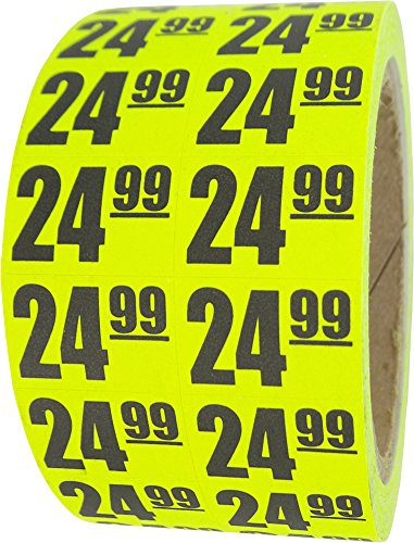 $24.99 In-Store Use Day-Glo Yellow Display Labels 3/4