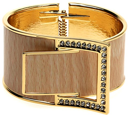 Lova Jewelry Wide Buckle Rhinestone Embellished Gold Tone Hinge Metal Bangle Bracelet