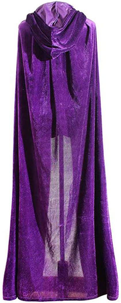 ShineGown Purple Women Hooded Cape Floor Length Wedding Cloaks with Button Purple