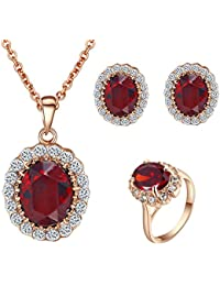 Yoursfs Vintage Wedding Jewelry Sets for Bridal Oval Ruby...