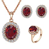 Yoursfs Kate Middleton Jewelry Set Red Crystal Necklace Earrings Ring Set For Women