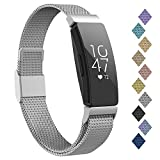 iGK Compatible with Fitbit Inspire Hr Bands, Stainless Steel Replacement for Fitbit Inspire and Ace 2 Metal Loop Bracelet Sweetproof Wristbands for Women Men