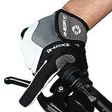 INBIKE Men's Cycling Gloves, Full Finger Gel Padded Mountain Bike Grey Medium