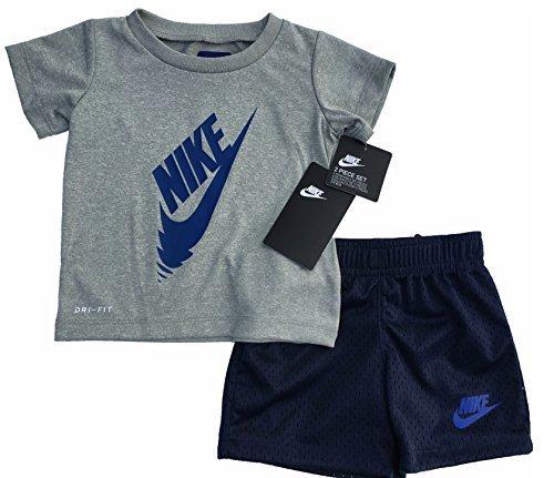 Nike Baby Boys Infant 2 Piece Swoosh T-Shirt Tee & Shorts Set Gray/Obsidian Size 12 Months