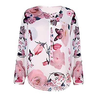 aihihe Women's Button Down V Neck Floral Print Boho Shirt 3/4 Sleeves Casual Summer Tunic Top