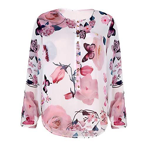Chemisiers Demi Vous Grande de Arrtez Tops Plumes Manche Encolure Chemises en Blouse Taille Femmes V Floral Chic Impression qRwAgaa