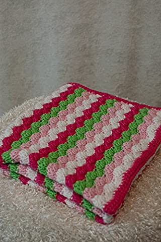 'The Victoria' - Crochet Baby Girl Blanket (30x35 Inches, Hot Pink-Pink-Green-White) - Crochet Shell Afghan