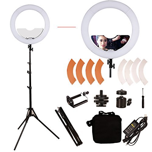 GINSON 18 inch 240 LED Ring Light Mirror Make Up Beauty Light with Stand for Wedding Photography, Beauty Light, Night Video by GINSON