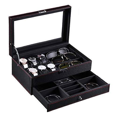 HONGGE Jewellery Box,Carbon Fiber Double Layer Jewelry Box Leather Watch Glasses Display Storage Box 3320.513cm