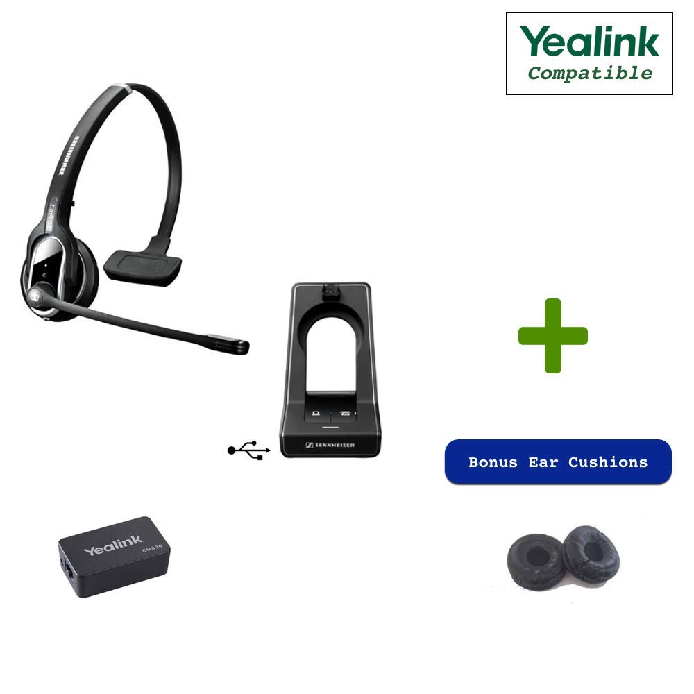 Sennheiser SD PRO1 - Deskphone Cordless Headset with Yealink EHS Adapter Included | Compatible Yealink Models: T48G, T46G, T42G, T41P, T38G, T28P, T26P