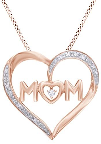 c77741dcdaee7 Amazon.com  White Natural Diamond Accent Heart MOM Pendant in 10K Rose Gold   Jewelry