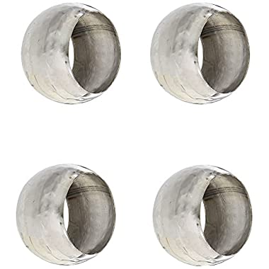 Elegance Hammered 1-1/2-Inch Stainless Steel Napkin Ring, Set Of 4