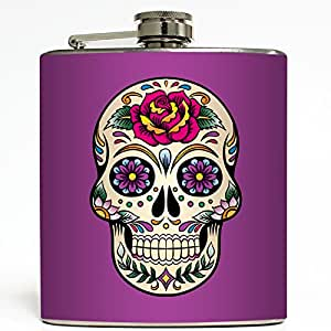 Day of the Dead Skull - Purple Flask - Liquid Courage Flasks - 6 oz. Stainless Steel Flask