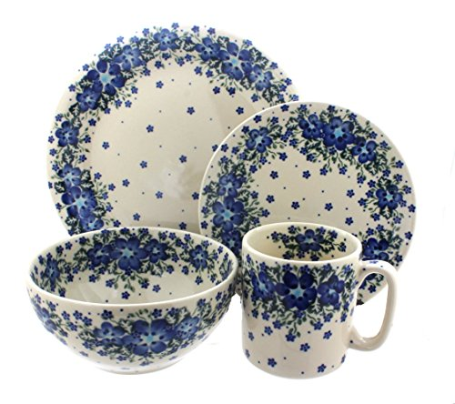 Blue Rose Polish Pottery Melanie 4 Piece Place -