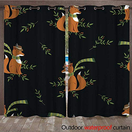 RenteriaDecor Outdoor Ultraviolet Protective Curtains Funny Foxy with Scarf Pattern W84 x L108 ()
