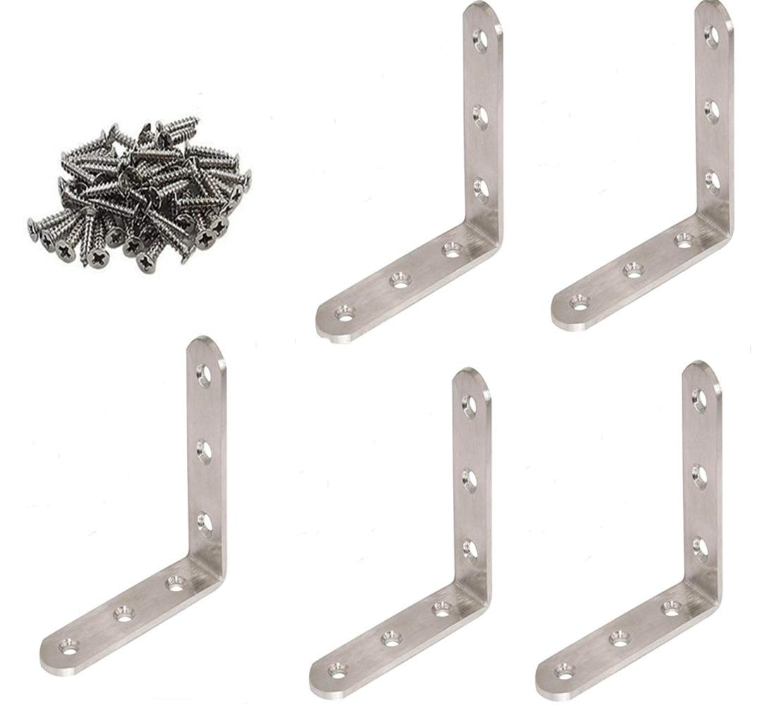 GFORTUN Stainless Steel Heavy Duty Corner Brace Right Angle Bracket L Shaped Brackets Furniture 90 Degree Joint Corner Support Fastener with Screws 5PCS 100mmX20mmX100mm