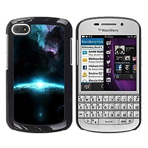 Caucho caso de Shell duro de la cubierta de accesorios de protección BY RAYDREAMMM - BlackBerry Q10 - Blue Planet Sunrise Alien Galaxy Stardust
