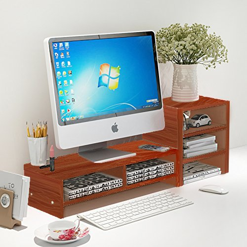 Teak Pedestal (DL furniture - Monitor Stand 2 Compartment Organizer Come With Portable Tall Side Stand   Teak)