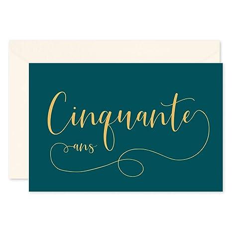 Popcarte 16 Cartes Invitation Anniversaire 50 Ans 16 Enveloppes