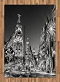Black and White Area Rug by Ambesonne, Madrid City at Nighttime in Spain Main Street Ancient Architecture, Flat Woven Accent Rug for Living Room Bedroom Dining Room, 5.2 x 7.5 FT, Black White Grey