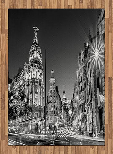 Black and White Area Rug by Ambesonne, Madrid City at Nighttime in Spain Main Street Ancient Architecture, Flat Woven Accent Rug for Living Room Bedroom Dining Room, 5.2 x 7.5 FT, Black White Grey by Ambesonne