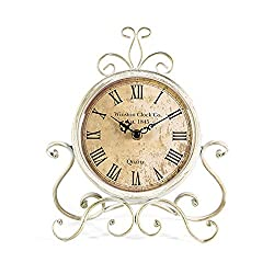 Mode Home Antique Iron Desk Clock Decorative Retro Table Clock For Home (Cream)