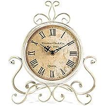 Mode Home Antique Iron Desk Clock Decorative Retro Table Clock For Home (Cream)