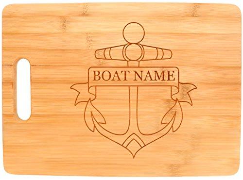 Customized Boating Gift Nautical Boat Name Anchor Personalized Big Rectangle Bamboo Cutting ()