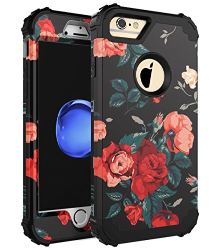 GrapCase Case for iPhone 6 Plus, iPhone 6s Plus, Three Layer Heavy Duty Cute Beauty Flowers For Girls Women Shockproof Hybrid Case For iPhone 6 Plus/6s Plus 5.5 inch, Black Roses