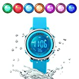 WUTONYU(TM) Children Digital Watch Kids Boy Girls LED Alarm Stopwatch Waterproof Wristwatches(Blue)