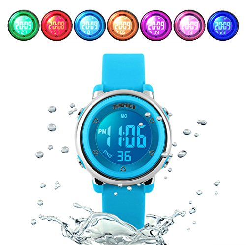 WUTONYU(TM) Children Digital Watch Kids Boy Girls LED Alarm Stopwatch Waterproof Wristwatches(Blue)
