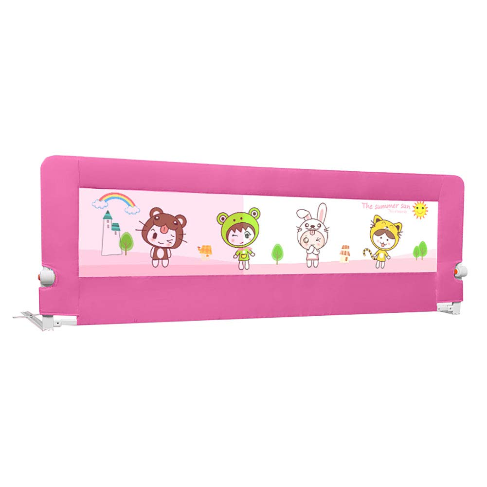 Safety Toddlers Bedrail, Folding Rails for King Size Bed, Full Size Anti-Collision Bed Guardrail, Pink Baby Bed Guard Rail (Size : 200cm)