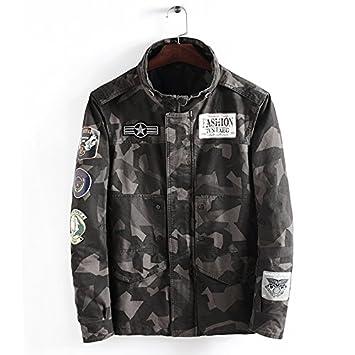 NZSYZXYD Jacket Chaqueta para Hombre 2018 Camouflage Slim Collar Chaqueta para Abrigo, Camuflaje Verde, L: Amazon.es: Deportes y aire libre