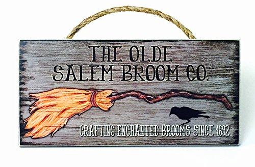 Halloween Home Decor Wood Signs with Quotes Inspirational & Sometimes Funny Sayings Rustic Wood Signs- Hanging Signs (NA, Old Salem Broom Company)