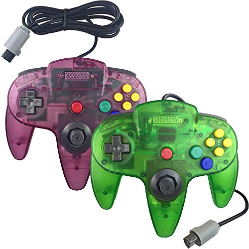 Ssgamer N64 Controller, Upgraded Joystick Classic Wired Controller Compatible with N64 Console (Clear Purple and Clear Green)