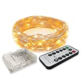 RTGS 30 LEDs String Lights Batteries Operated on 10 Feet Long Silver Color Wire, Indoor and Outdoor with Waterproof Batteries Box and Timer (Warm White Color 30 LEDs 10 FEET Remote Functions)