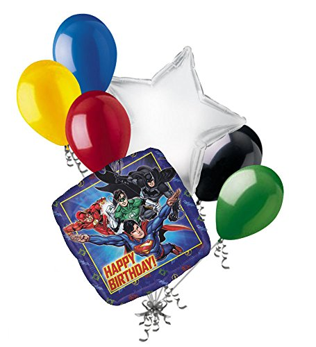 7 pc Justice League Happy Birthday Balloon Bouquet Decoration Batman Super Hero (League Justice Bouquet Balloon)