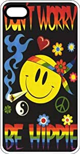 Cartoon Don't Worry Be Hippie Smiley Face & Joint White Rubber Case for Apple iPhone 4 or iPhone 4s