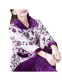 FANCY PUMPKIN Thicker Women's Flannel Pajamas Warm Robe Suit#10