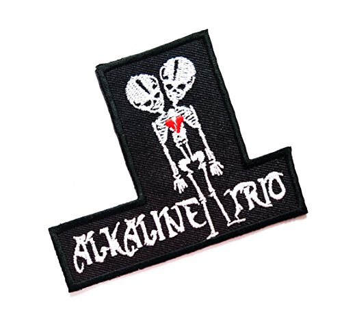 2.7'' X 3.5'' Black ALKALINE TRIO Two Headed Skeleton Punk Rock logo jacket t-shirt Jeans Polo Patch Iron on Embroidered Logo Sign Badge music patch by Tour les jours shop (Alkaline Trio Patches)