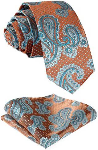 HISDERN Men's Floral Paisley Wedding Silk Neck Tie and Pocket Square Set