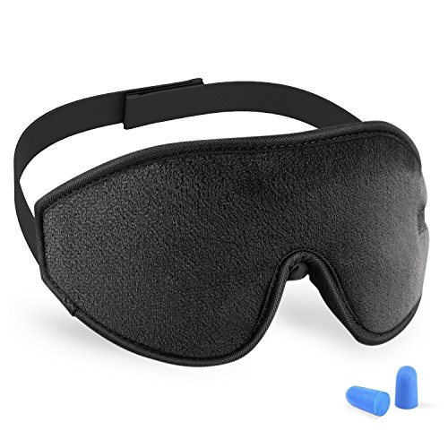 3D Sleeping Mask Eye Cover, Cshidworld Patented Design 100% Blackout Sleep Mask Contoured Comfortable Lightweight Adjustable Eye Mask & Blindfold for Travel, Nap, Shift Works (Black) ()